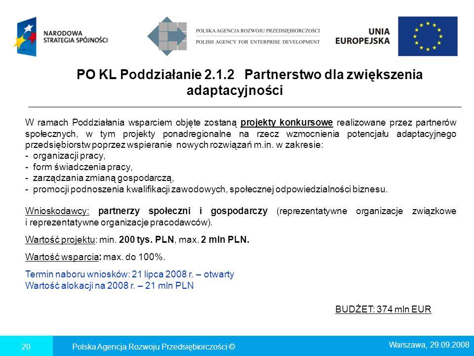 PO KL Poddziałanie 2.1.2 Partnerstwo dla zwiększenia adaptacyjności Polska Agencja Rozwoju Przedsiębiorczości ©20 Warszawa, 29.09.2008 W ramach Poddzi