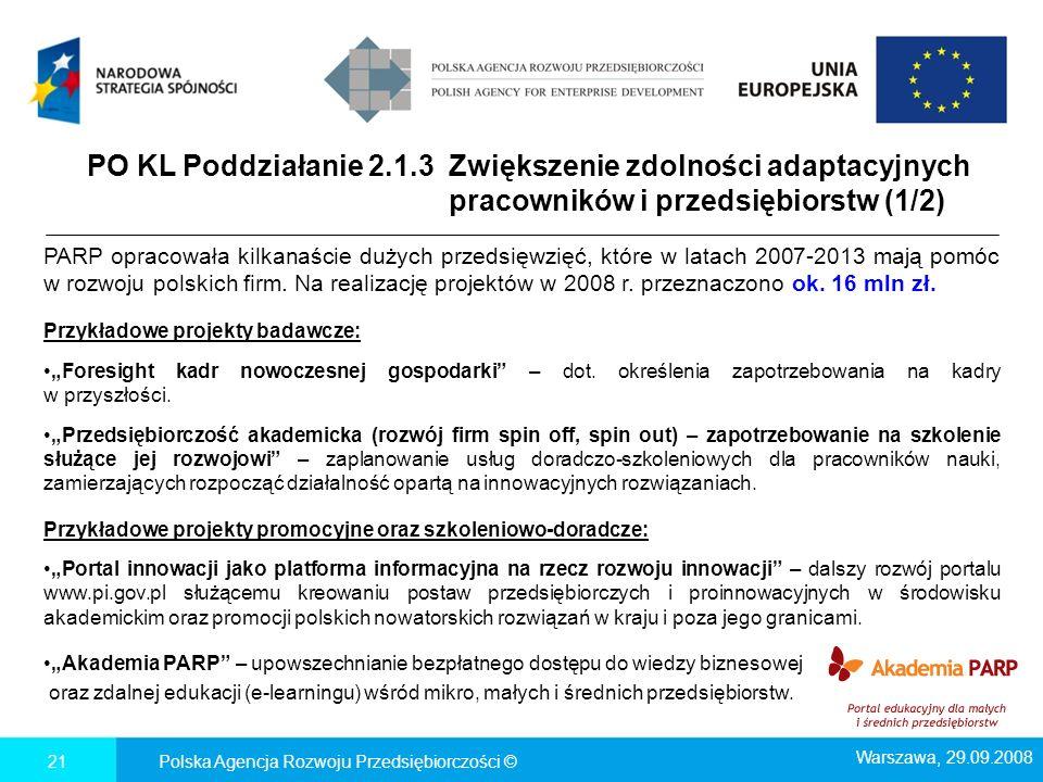 PO KL Poddziałanie 2.1.3 Zwiększenie zdolności adaptacyjnych pracowników i przedsiębiorstw (1/2) PARP opracowała kilkanaście dużych przedsięwzięć, któ
