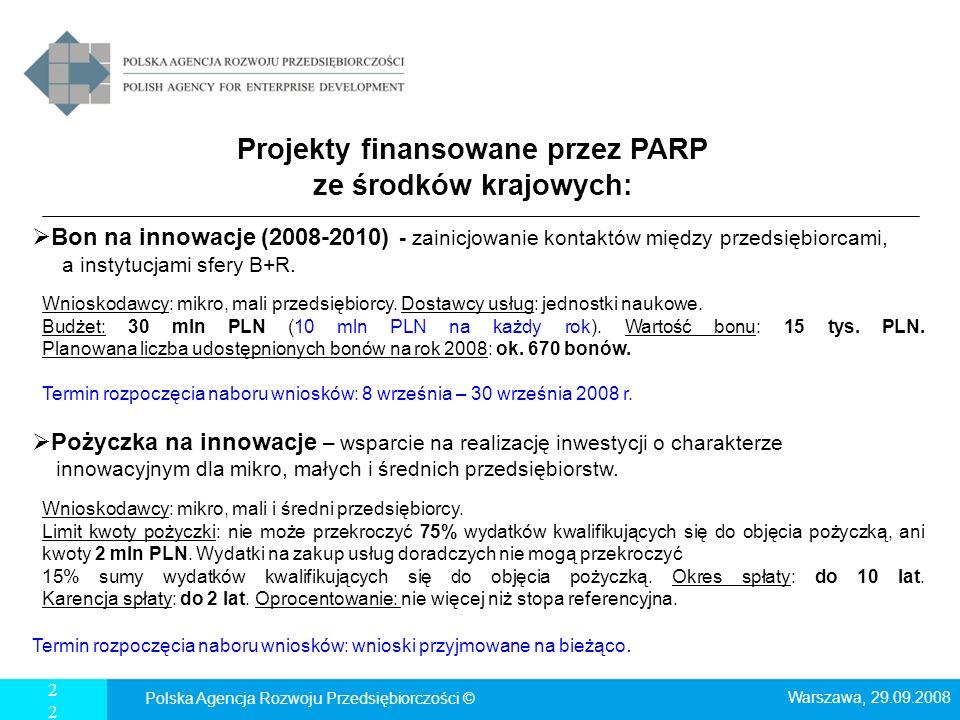 22 Projekty finansowane przez PARP ze środków krajowych: Bon na innowacje (2008-2010) - zainicjowanie kontaktów między przedsiębiorcami, a instytucjam