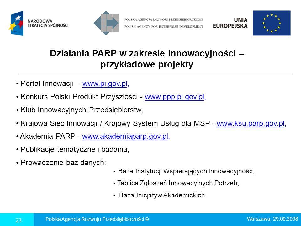 Działania PARP w zakresie innowacyjności – przykładowe projekty 23 Polska Agencja Rozwoju Przedsiębiorczości © Warszawa, 29.09.2008 Portal Innowacji -