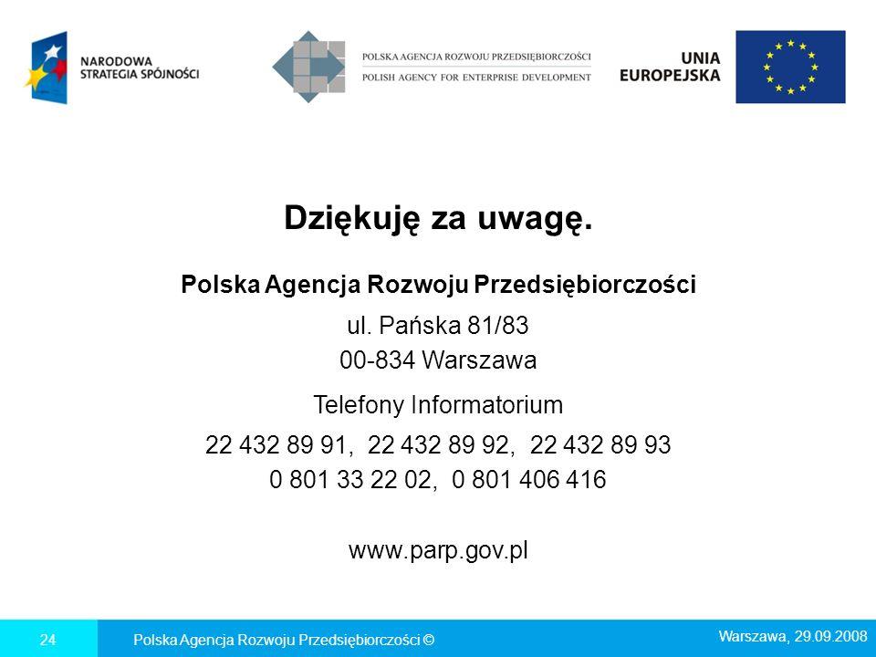 Dziękuję za uwagę. Polska Agencja Rozwoju Przedsiębiorczości ul. Pańska 81/83 00-834 Warszawa Telefony Informatorium 22 432 89 91, 22 432 89 92, 22 43