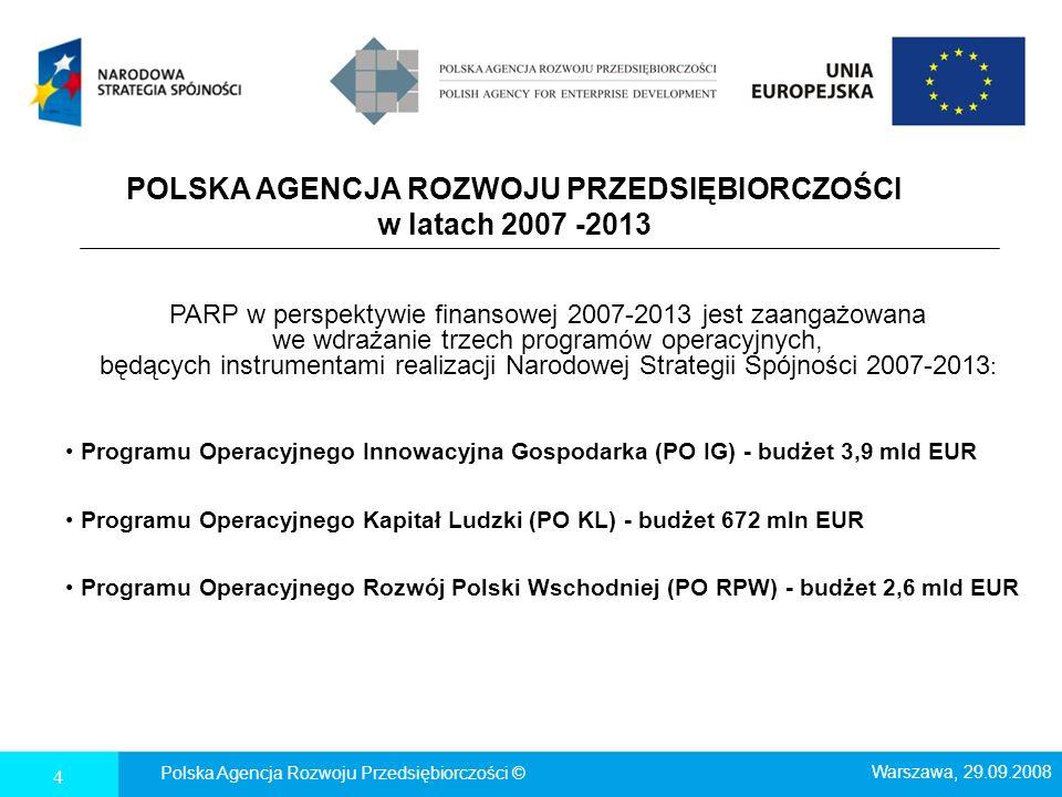4 POLSKA AGENCJA ROZWOJU PRZEDSIĘBIORCZOŚCI w latach 2007 -2013 PARP w perspektywie finansowej 2007-2013 jest zaangażowana we wdrażanie trzech program