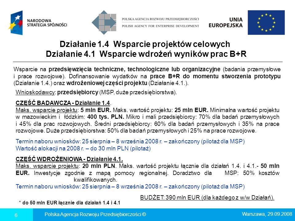 Działanie 1.4 Wsparcie projektów celowych Działanie 4.1 Wsparcie wdrożeń wyników prac B+R 6 * do 50 mln EUR łącznie dla działań 1.4 i 4.1 Polska Agenc