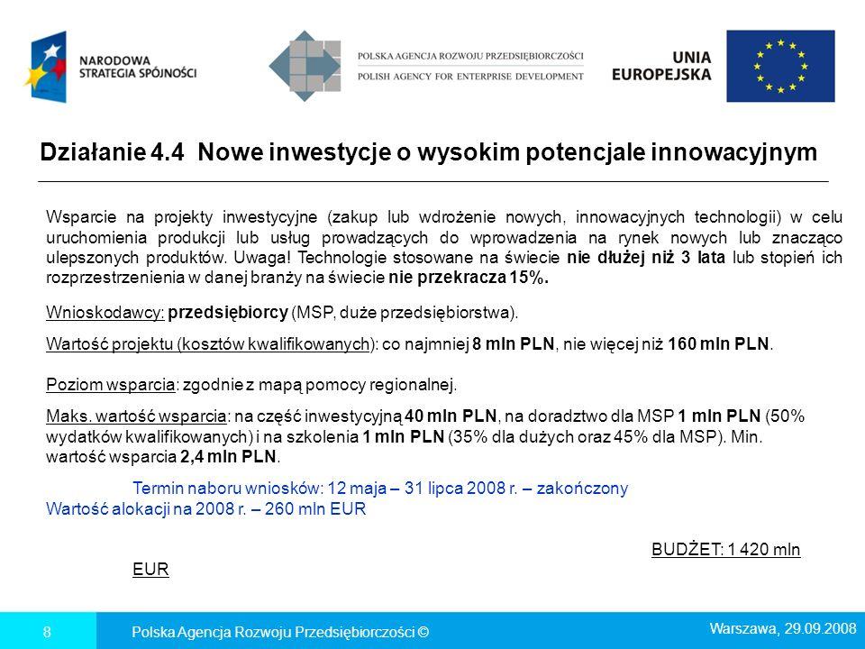 Działanie 4.4 Nowe inwestycje o wysokim potencjale innowacyjnym Polska Agencja Rozwoju Przedsiębiorczości ©8 Wsparcie na projekty inwestycyjne (zakup