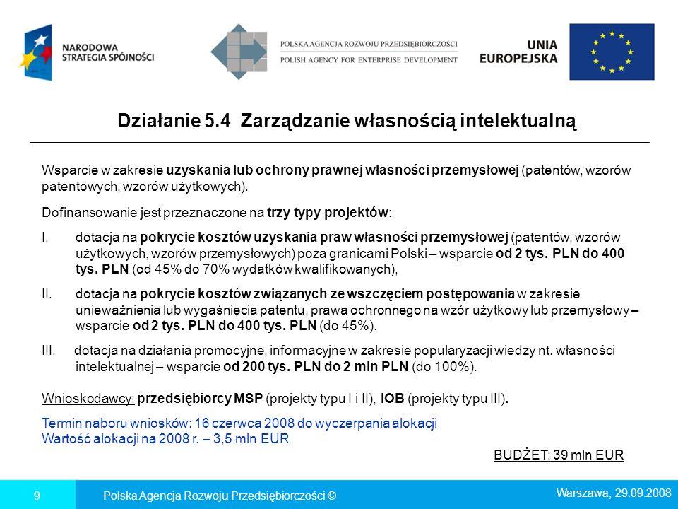 Działanie 5.4 Zarządzanie własnością intelektualną Polska Agencja Rozwoju Przedsiębiorczości ©9 Wsparcie w zakresie uzyskania lub ochrony prawnej włas