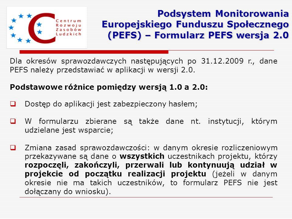 Dla okresów sprawozdawczych następujących po 31.12.2009 r., dane PEFS należy przedstawiać w aplikacji w wersji 2.0. Podstawowe różnice pomiędzy wersją