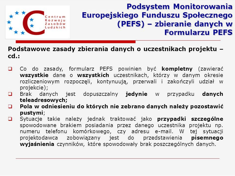 Podstawowe zasady zbierania danych o uczestnikach projektu – cd.: Co do zasady, formularz PEFS powinien być kompletny (zawierać wszystkie dane o wszys