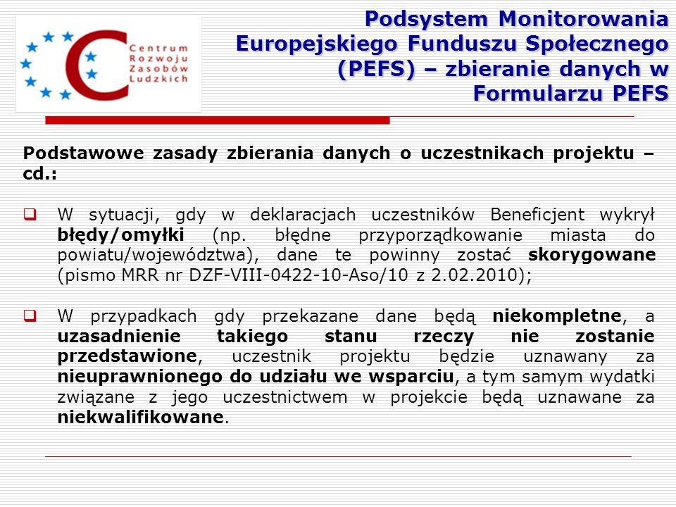 Podstawowe zasady zbierania danych o uczestnikach projektu – cd.: W sytuacji, gdy w deklaracjach uczestników Beneficjent wykrył błędy/omyłki (np. błęd