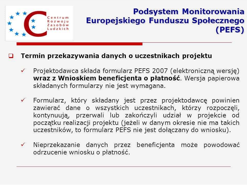 Termin przekazywania danych o uczestnikach projektu Projektodawca składa formularz PEFS 2007 (elektroniczną wersję) wraz z Wnioskiem beneficjenta o pł