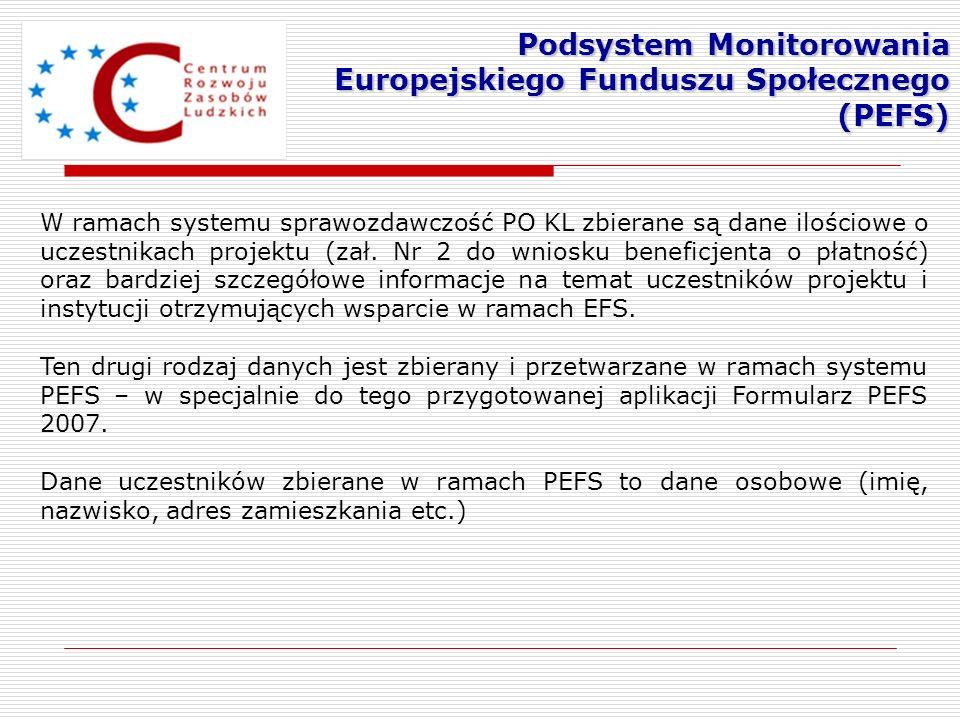 W ramach systemu sprawozdawczość PO KL zbierane są dane ilościowe o uczestnikach projektu (zał. Nr 2 do wniosku beneficjenta o płatność) oraz bardziej