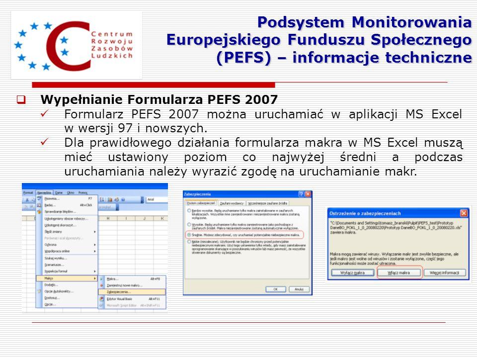 Wypełnianie Formularza PEFS 2007 Formularz PEFS 2007 można uruchamiać w aplikacji MS Excel w wersji 97 i nowszych. Dla prawidłowego działania formular