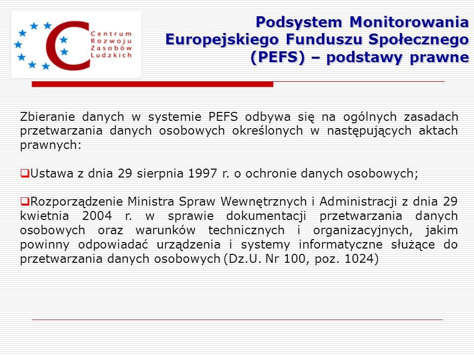 Zbieranie danych w systemie PEFS odbywa się na ogólnych zasadach przetwarzania danych osobowych określonych w następujących aktach prawnych: Ustawa z