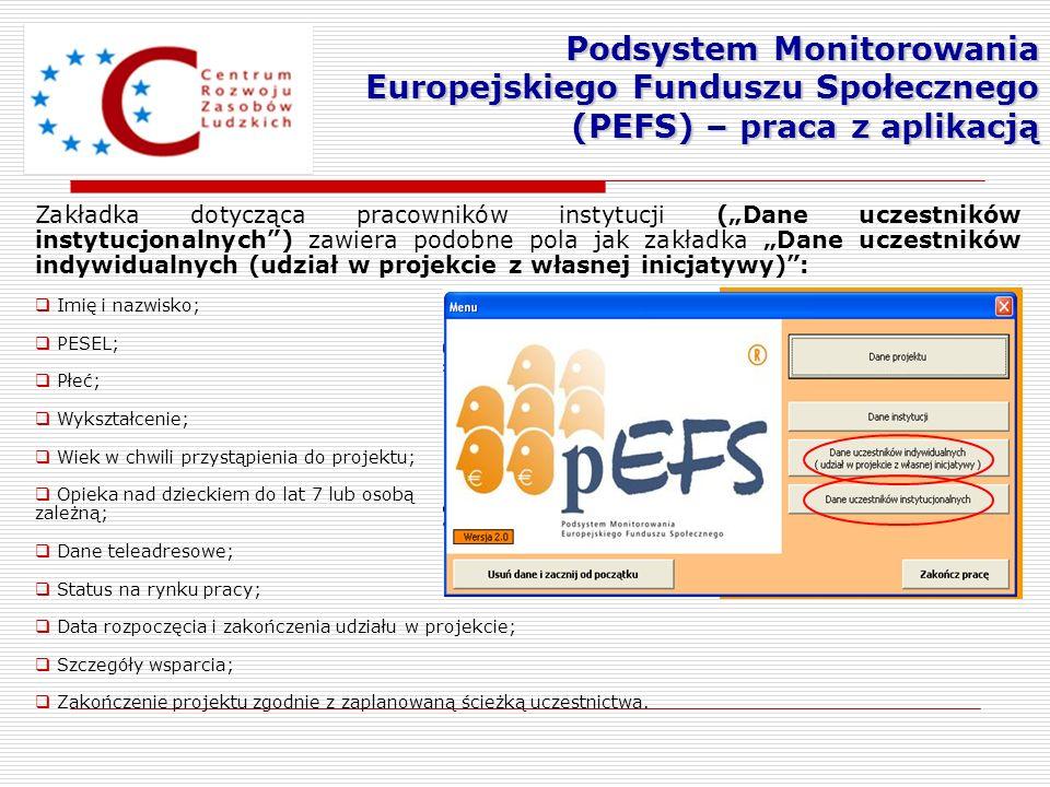 Podsystem Monitorowania Europejskiego Funduszu Społecznego (PEFS) – praca z aplikacją Zakładka dotycząca pracowników instytucji (Dane uczestników inst