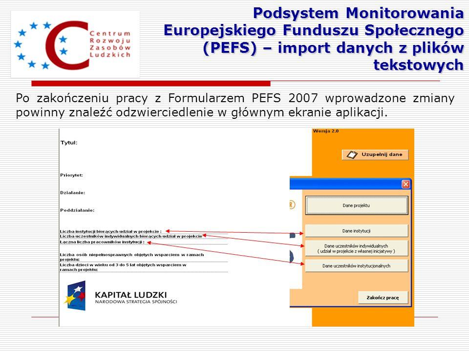 Po zakończeniu pracy z Formularzem PEFS 2007 wprowadzone zmiany powinny znaleźć odzwierciedlenie w głównym ekranie aplikacji. Podsystem Monitorowania