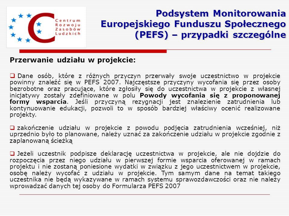 Przerwanie udziału w projekcie: Dane osób, które z różnych przyczyn przerwały swoje uczestnictwo w projekcie powinny znaleźć się w PEFS 2007. Najczęst