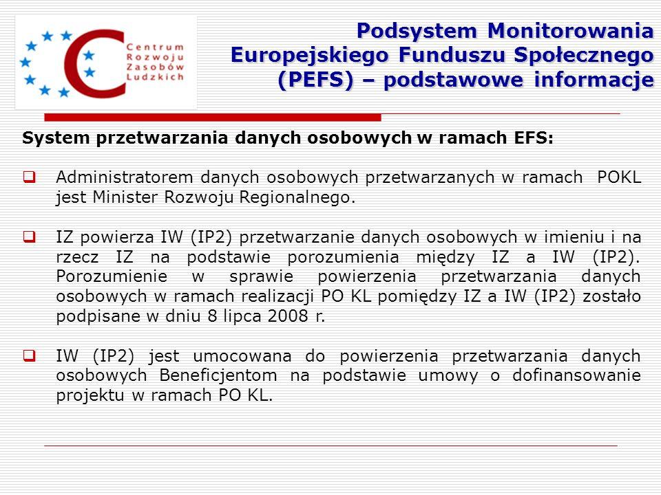 System przetwarzania danych osobowych w ramach EFS: Administratorem danych osobowych przetwarzanych w ramach POKL jest Minister Rozwoju Regionalnego.