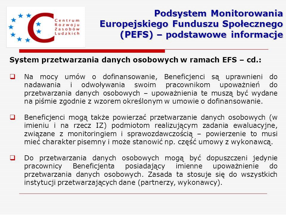 System przetwarzania danych osobowych w ramach EFS – cd.: Na mocy umów o dofinansowanie, Beneficjenci są uprawnieni do nadawania i odwoływania swoim p