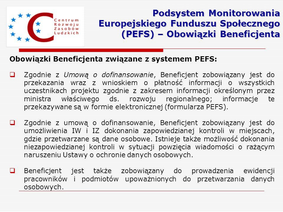 Obowiązki Beneficjenta związane z systemem PEFS: Zgodnie z Umową o dofinansowanie, Beneficjent zobowiązany jest do przekazania wraz z wnioskiem o płat