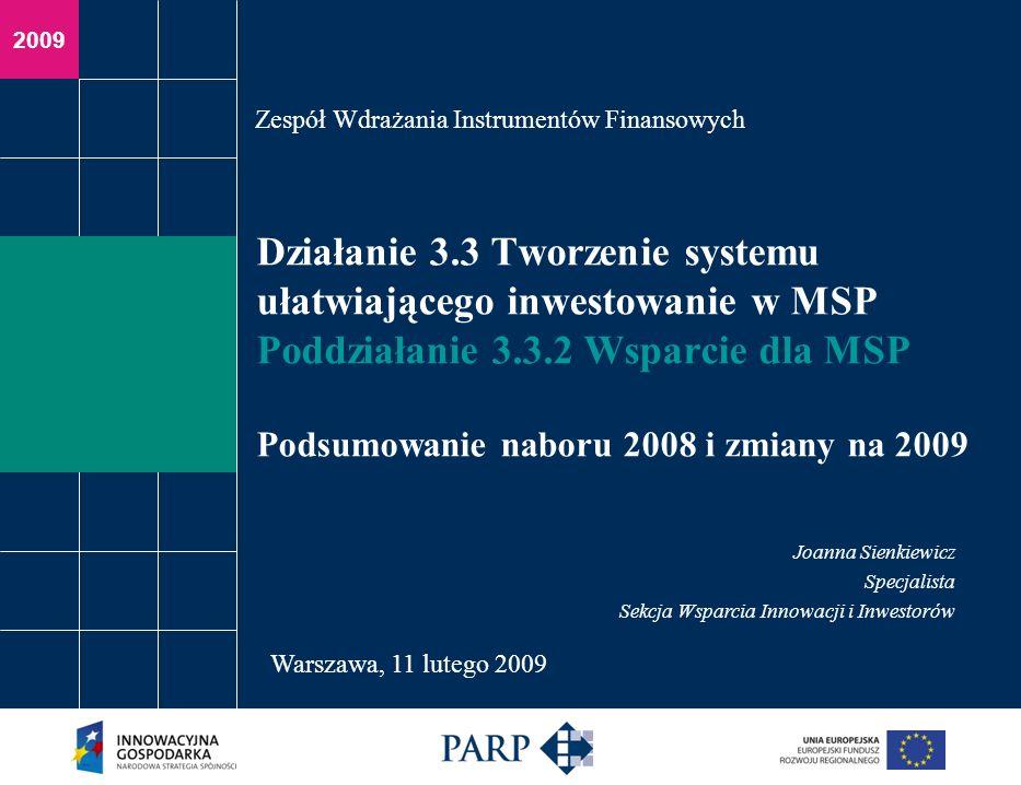 Warszawa, 11 lutego 2009 Statystyka MSP Złożono 52 wnioski, do oceny merytorycznej przeszło: 46 Łączna kwota wnioskowanego dofinansowania - 16.599.803,80 PLN Planowano pozyskać inwestora/inwestorów z: NewConnect - 31 GPW - 12 Inne - 9 Wnioskodawcy: Małe przedsiębiorstwo - 23 Średnie przedsiębiorstwo – 19 Mikro przedsiębiorstwo - 10