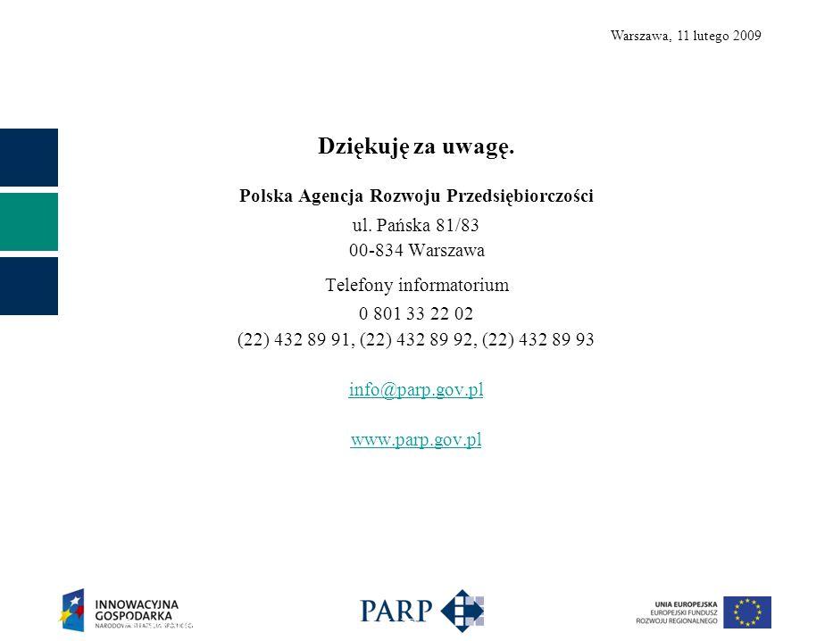 Warszawa, 11 lutego 2009 Dziękuję za uwagę. Polska Agencja Rozwoju Przedsiębiorczości ul.