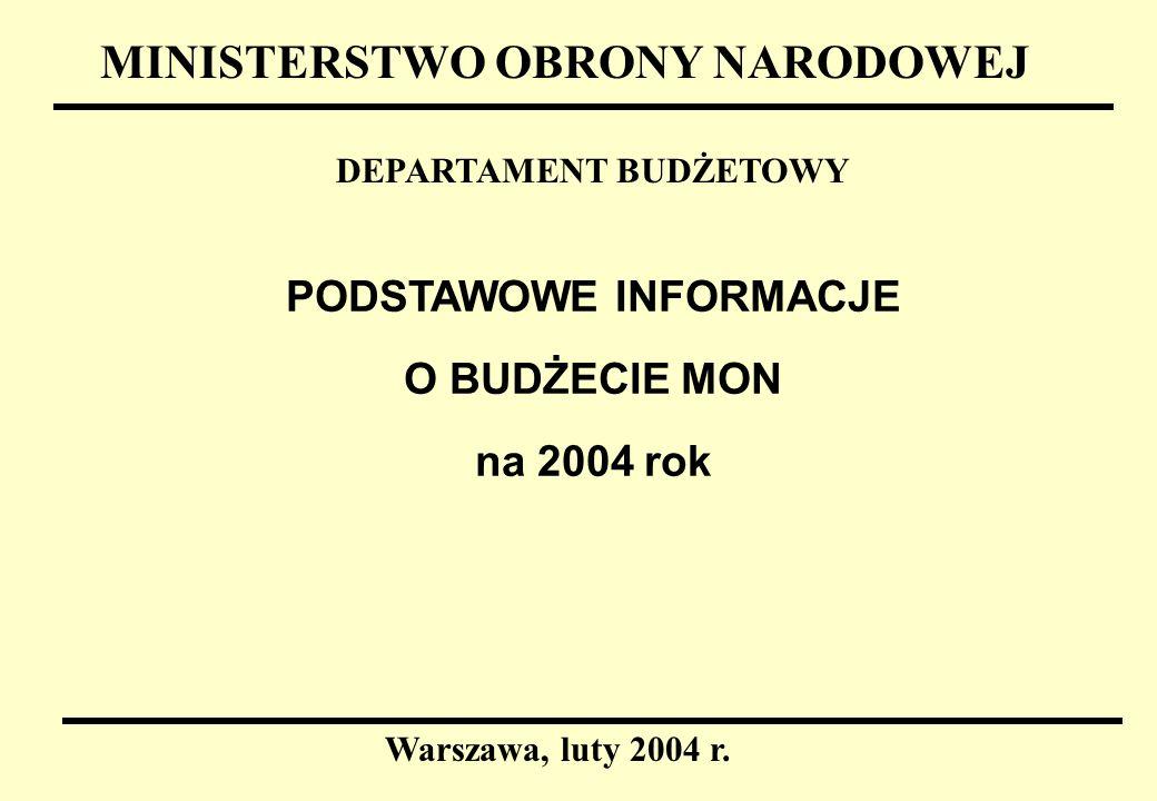 1 PODSTAWOWE INFORMACJE O BUDŻECIE MON na 2004 rok MINISTERSTWO OBRONY NARODOWEJ DEPARTAMENT BUDŻETOWY Warszawa, luty 2004 r.