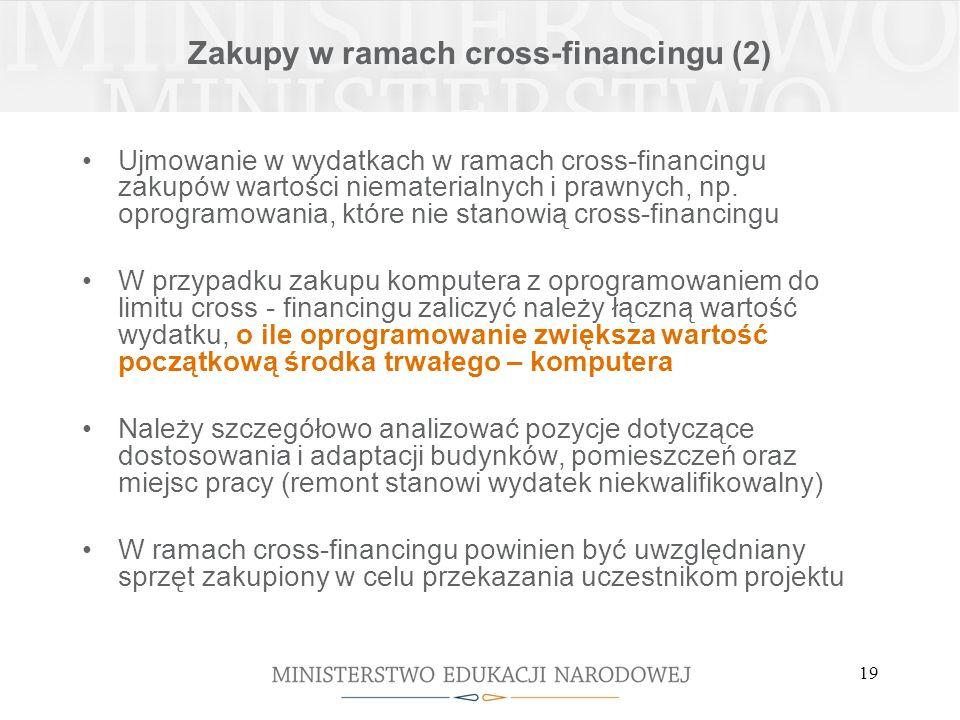 19 Zakupy w ramach cross-financingu (2) Ujmowanie w wydatkach w ramach cross-financingu zakupów wartości niematerialnych i prawnych, np.