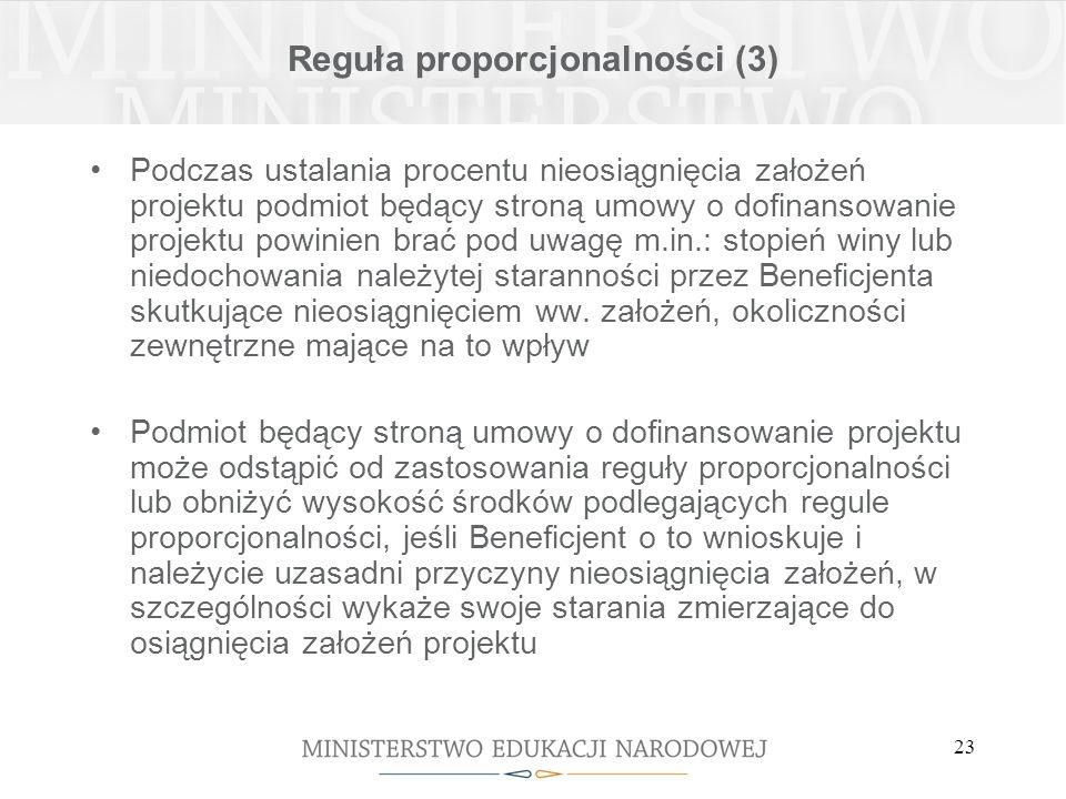 23 Reguła proporcjonalności (3) Podczas ustalania procentu nieosiągnięcia założeń projektu podmiot będący stroną umowy o dofinansowanie projektu powinien brać pod uwagę m.in.: stopień winy lub niedochowania należytej staranności przez Beneficjenta skutkujące nieosiągnięciem ww.
