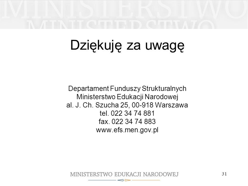 31 Dziękuję za uwagę Departament Funduszy Strukturalnych Ministerstwo Edukacji Narodowej al.