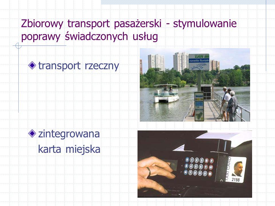 Zbiorowy transport pasażerski - stymulowanie poprawy świadczonych usług transport rzeczny zintegrowana karta miejska