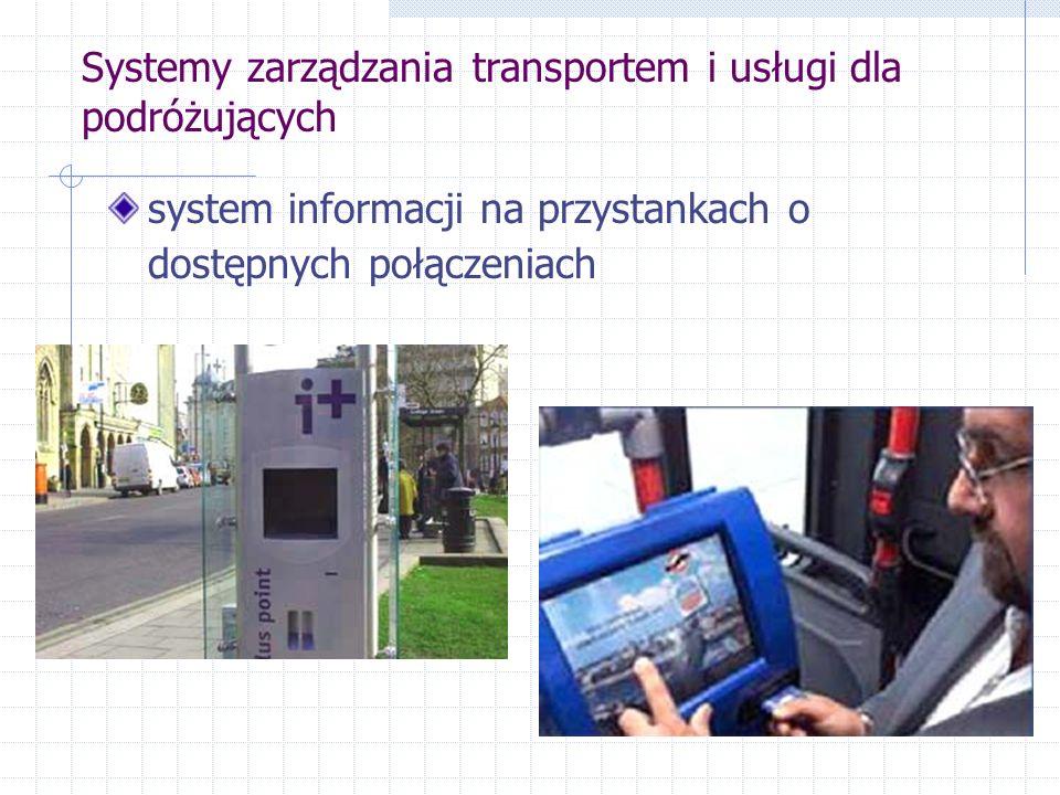 Systemy zarządzania transportem i usługi dla podróżujących system informacji na przystankach o dostępnych połączeniach