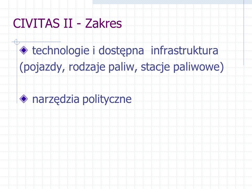 CIVITAS II - Zakres technologie i dostępna infrastruktura (pojazdy, rodzaje paliw, stacje paliwowe) narzędzia polityczne