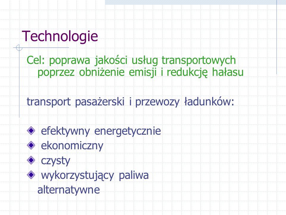Technologie Cel: poprawa jakości usług transportowych poprzez obniżenie emisji i redukcję hałasu transport pasażerski i przewozy ładunków: efektywny energetycznie ekonomiczny czysty wykorzystujący paliwa alternatywne