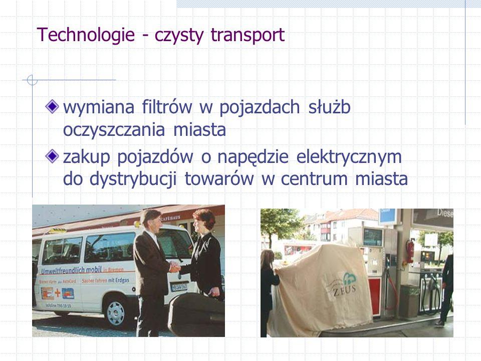 Technologie - czysty transport wymiana filtrów w pojazdach służb oczyszczania miasta zakup pojazdów o napędzie elektrycznym do dystrybucji towarów w centrum miasta
