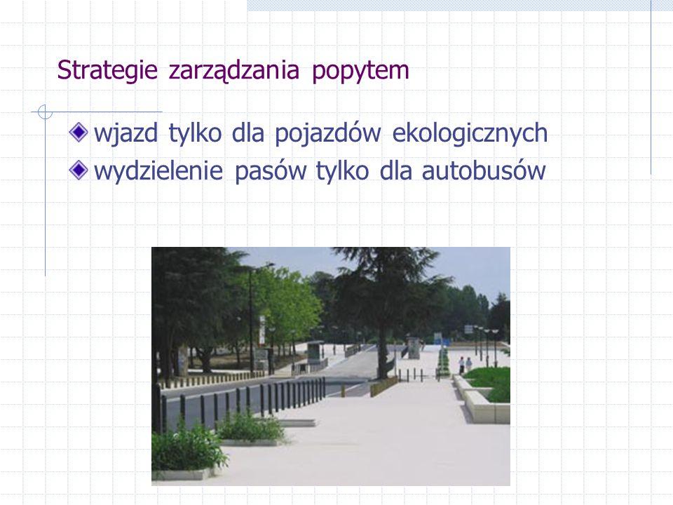 Strategie zarządzania popytem promocja ruchu rowerowego – wytyczenie ścieżek rowerowych wiodących do centrum miasta ograniczenia wjazdu dla samochodów osobowych, zwiększenie częstotliwości kursowania trolejbusów ograniczenia czasu parkowania dla ciężarówek