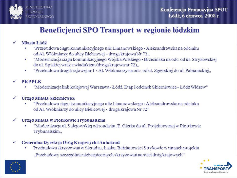 Konferencja Promocyjna SPOT Łódź, 6 czerwca 2008 r. Beneficjenci SPO Transport w regionie łódzkim Beneficjenci SPO Transport w regionie łódzkim Miasto