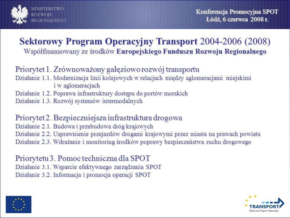 Konferencja Promocyjna SPOT Łódź, 6 czerwca 2008 r. Sektorowy Program Operacyjny Transport 2004-2006 (2008) Współfinansowany ze środków Europejskiego