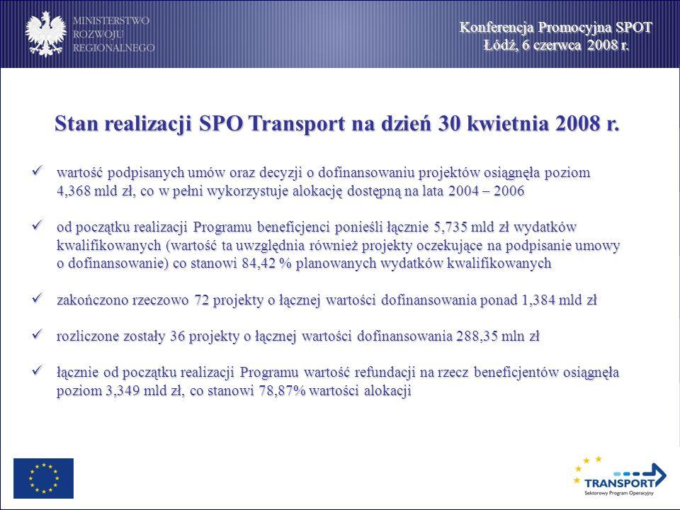 Konferencja Promocyjna SPOT Łódź, 6 czerwca 2008 r. Stan realizacji SPO Transport na dzień 30 kwietnia 2008 r. wartość podpisanych umów oraz decyzji o