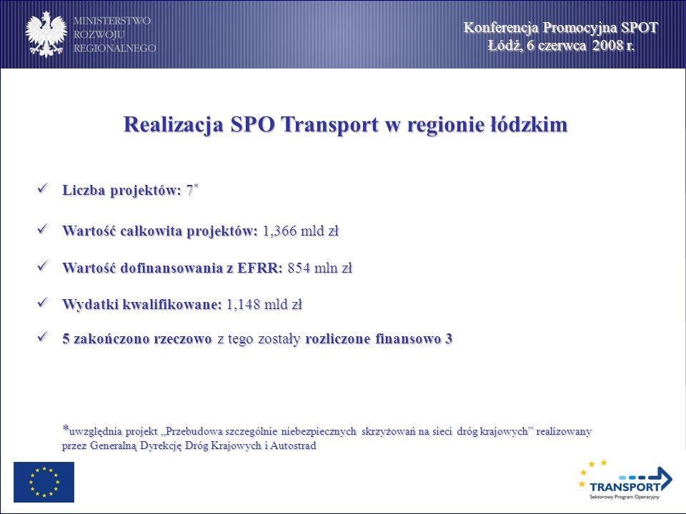 Konferencja Promocyjna SPOT Łódź, 6 czerwca 2008 r. Realizacja SPO Transport w regionie łódzkim Realizacja SPO Transport w regionie łódzkim Liczba pro