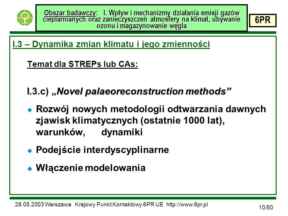 28.05.2003 Warszawa Krajowy Punkt Kontaktowy 6PR UE http://www.6pr.pl 6PR 10/50 Obszar badawczy: I.