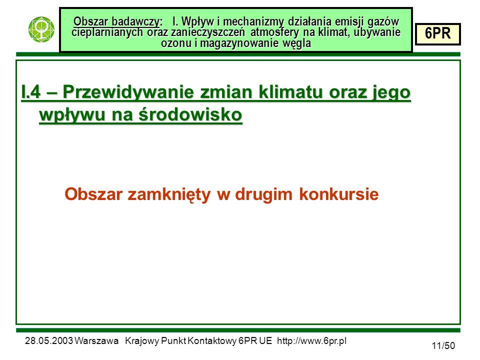 28.05.2003 Warszawa Krajowy Punkt Kontaktowy 6PR UE http://www.6pr.pl 6PR 11/50 Obszar badawczy: I.