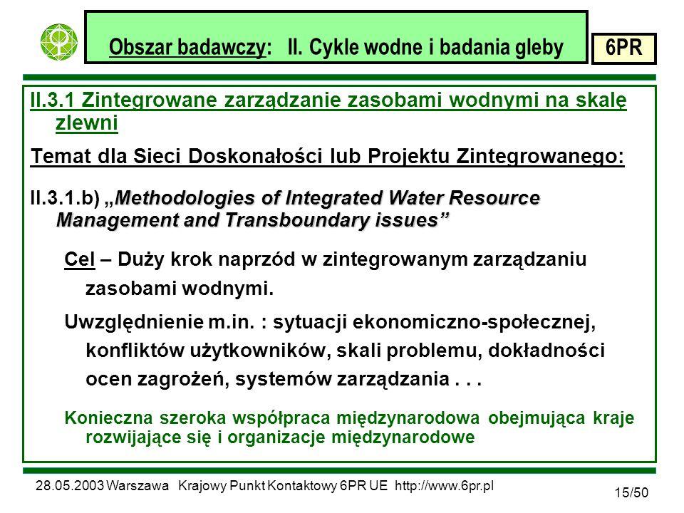 28.05.2003 Warszawa Krajowy Punkt Kontaktowy 6PR UE http://www.6pr.pl 6PR 15/50 Obszar badawczy: II.