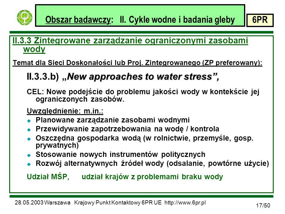 28.05.2003 Warszawa Krajowy Punkt Kontaktowy 6PR UE http://www.6pr.pl 6PR 17/50 Obszar badawczy: II.