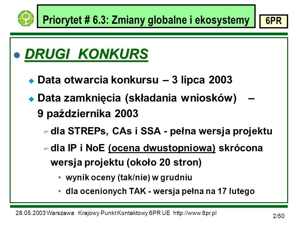 28.05.2003 Warszawa Krajowy Punkt Kontaktowy 6PR UE http://www.6pr.pl 6PR 2/50 Priorytet # 6.3: Zmiany globalne i ekosystemy l DRUGI KONKURS u Data otwarcia konkursu – 3 lipca 2003 u Data zamknięcia (składania wniosków) – 9 października 2003 F dla STREPs, CAs i SSA - pełna wersja projektu F dla IP i NoE (ocena dwustopniowa) skrócona wersja projektu (około 20 stron) wynik oceny (tak/nie) w grudniu dla ocenionych TAK - wersja pełna na 17 lutego