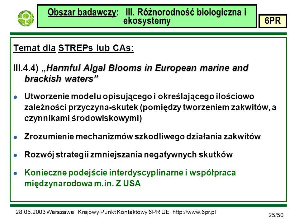 28.05.2003 Warszawa Krajowy Punkt Kontaktowy 6PR UE http://www.6pr.pl 6PR 25/50 Obszar badawczy: III.