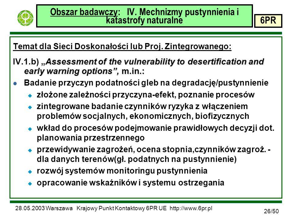 28.05.2003 Warszawa Krajowy Punkt Kontaktowy 6PR UE http://www.6pr.pl 6PR 26/50 Obszar badawczy: IV.
