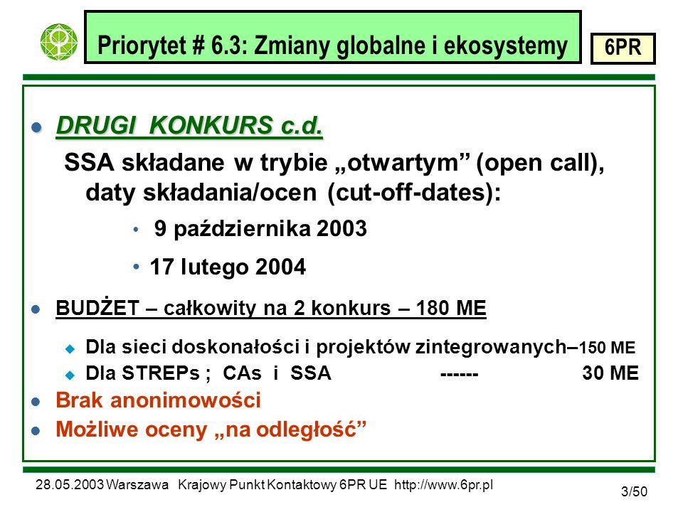 28.05.2003 Warszawa Krajowy Punkt Kontaktowy 6PR UE http://www.6pr.pl 6PR 34/50 Obszar badawczy: VII.