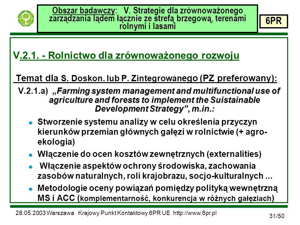 28.05.2003 Warszawa Krajowy Punkt Kontaktowy 6PR UE http://www.6pr.pl 6PR 31/50 Obszar badawczy: V.
