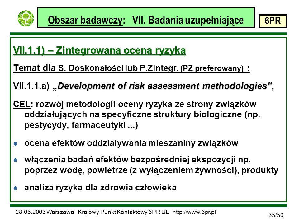 28.05.2003 Warszawa Krajowy Punkt Kontaktowy 6PR UE http://www.6pr.pl 6PR 35/50 Obszar badawczy: VII.