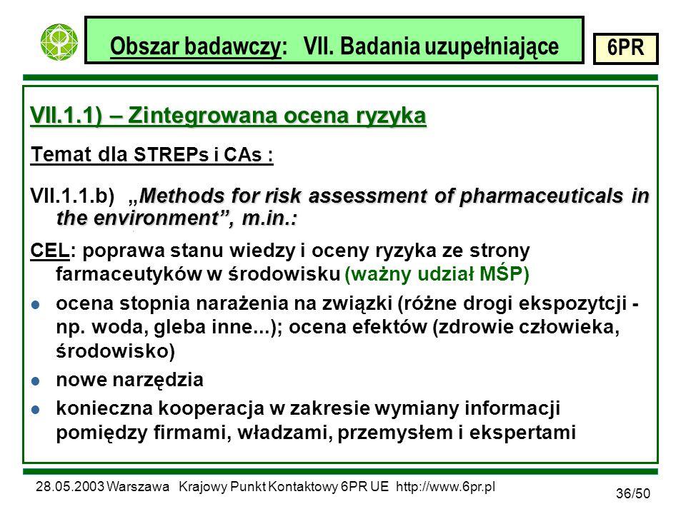 28.05.2003 Warszawa Krajowy Punkt Kontaktowy 6PR UE http://www.6pr.pl 6PR 36/50 Obszar badawczy: VII.