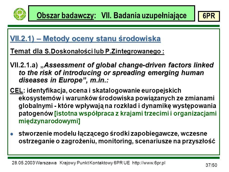 28.05.2003 Warszawa Krajowy Punkt Kontaktowy 6PR UE http://www.6pr.pl 6PR 37/50 Obszar badawczy: VII.